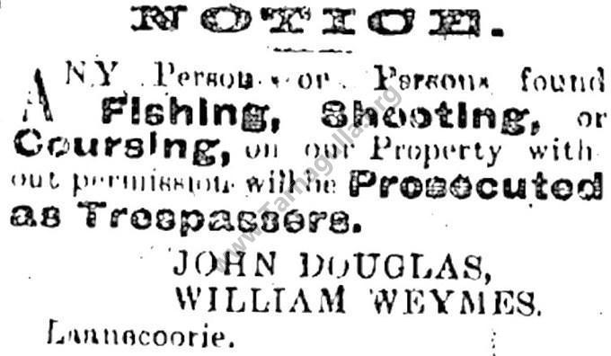 Warning against Fishing Shooting and Coursing on the property of J. Douglas & W Weymes in Laanecoorie, 5 January 1901