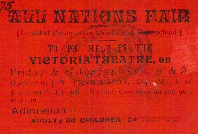 Ticket to All Nations Fair 8th & 9th September 1916