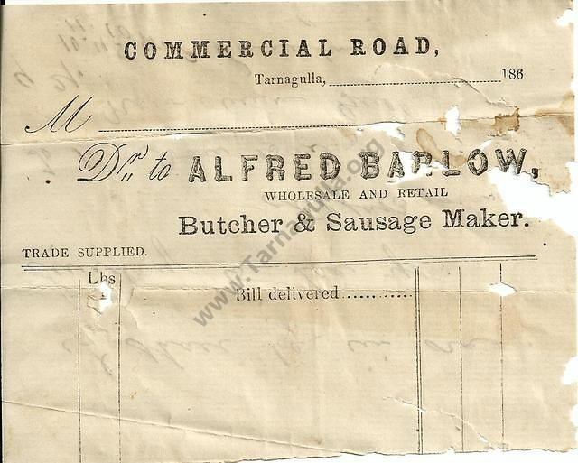 Invoice from Alfred Barlow, c.1869.
