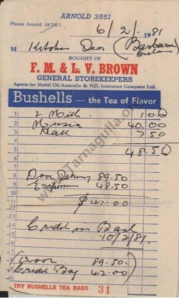 brown s arnold general store invoice
