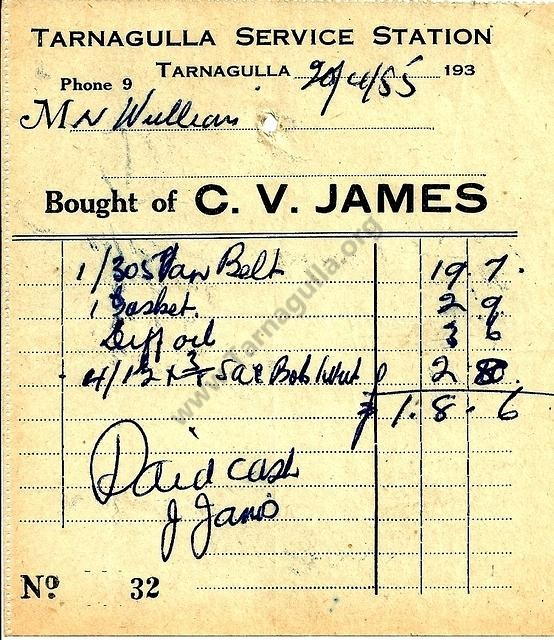 Claude James Invoice, 1955