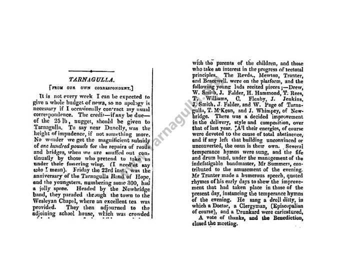 A Tarnagulla Report October 1863