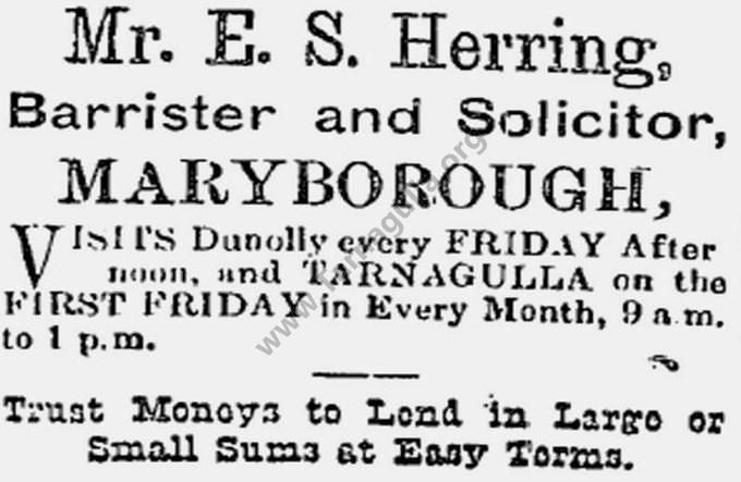 Advertisement of E. S Herring, Solicitor,  5 January 1901