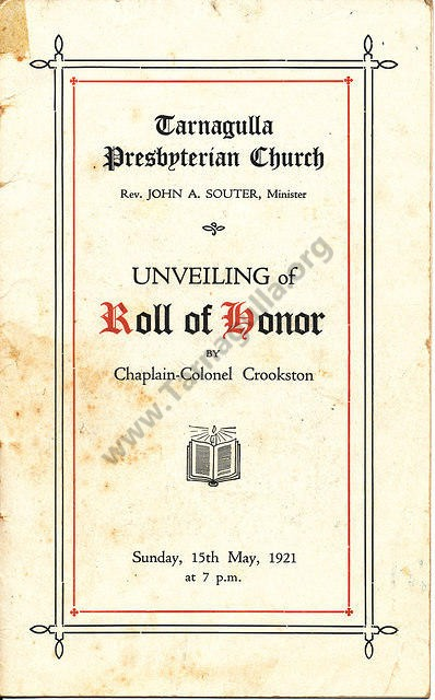 Pres. Roll of Honour 1921