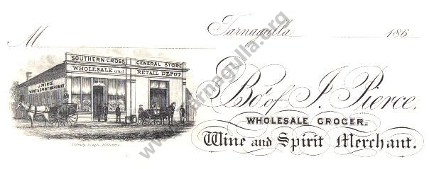Slip from J. Pierce. Wholesale Grocer. Wine and Spirit Merchant.