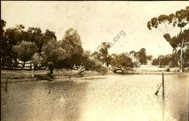 Company's Dam, Tarnagulla, looking north-east with Methodist Church in the background.